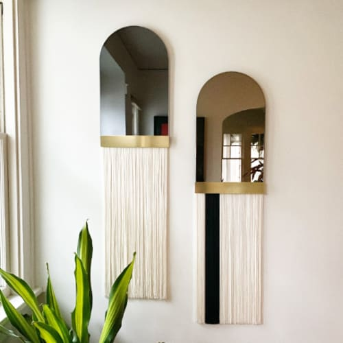 """Wall Hangings by Candice Luter Art & Interiors - """"Svara"""" Arch Mirror Brass Fringe Modern Tinted"""