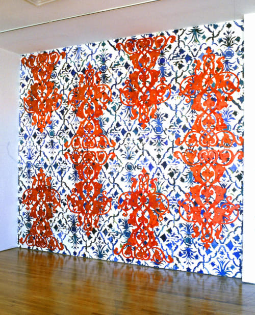 Murals by Margaret Lanzetta seen at Queens Museum, Queens - Orange and Blue Patterned Wall Mural