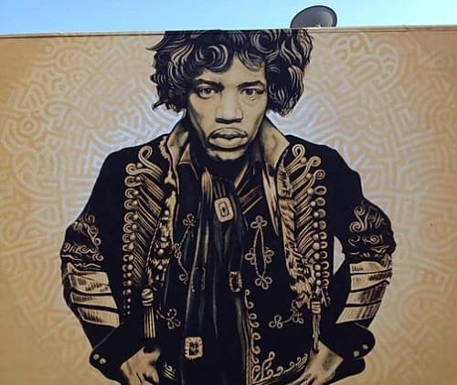 Street Murals by Levi Ponce seen at 4900 Lankershim Blvd, Los Angeles - Jimi