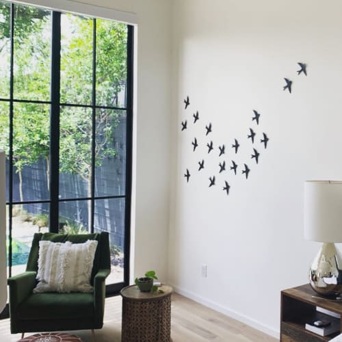 Art & Wall Decor by Elizabeth Prince Ceramics seen at Private Residence, Houston - Swallows - Modular ceramic wall art sculpture