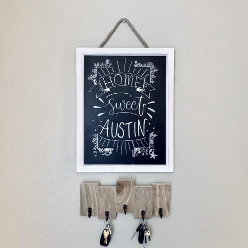 Wall Hangings by Lettered by Lauren seen at Establishment, Austin - Entryway Chalkboard Sign