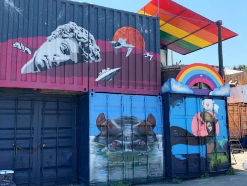 Murals by Lindsey Millikan (Milli) seen at The Box Shop, San Francisco - Calmly Alert