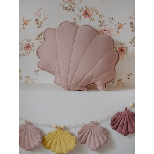"Pillows by Moi Mili seen at Private Residence - ""Linen pillow with ""powdered pink"" shell"""