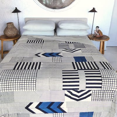 Linens & Bedding by Sally Campbell Handmade Textiles seen at Private Residence, Sydney - natural indigo