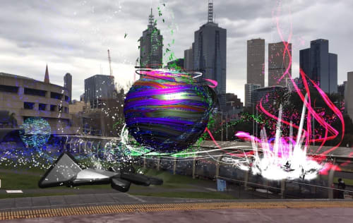 Public Sculptures by Richard Payne seen at 100 St Kilda Rd, Southbank - 'Unity AR' Augmented Reality Public Installation with integrated music