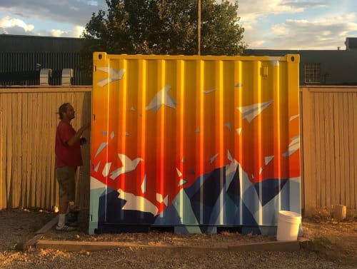 Street Murals by Josh Scheuerman seen at Bike trail 9 Line Bike Park, Salt Lake City - Paper Plane Abstract