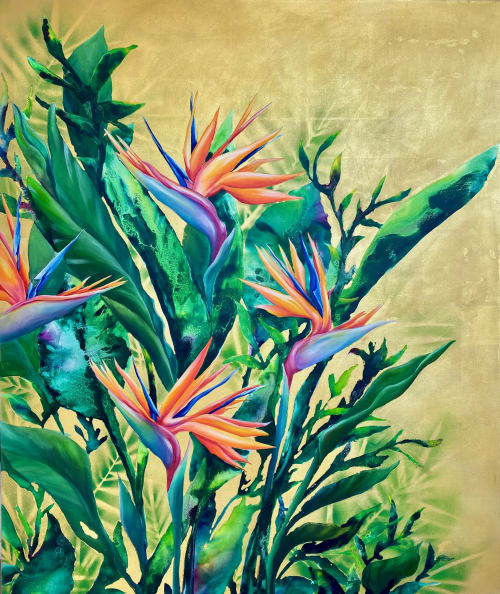 Paintings by Carla James seen at Private Residence, London - Bird of Paradise
