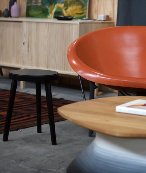 Furniture by The Long Con seen at Bay Area Made x Wescover 2019 Design Showcase, Alameda - Cosmos Stool - Ebonized Black
