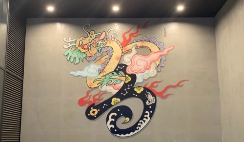 Murals by Hong Sik Kim seen at 130, Yanghwa-ro - 어변성룡