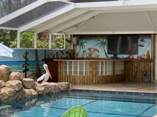 Murals by Art Turquoise Murals, Wall Decoration, Art on canvas by Margarita Streinesberger seen at Private Residence, Loxahatchee Groves - Beach relaxing view from your pool area