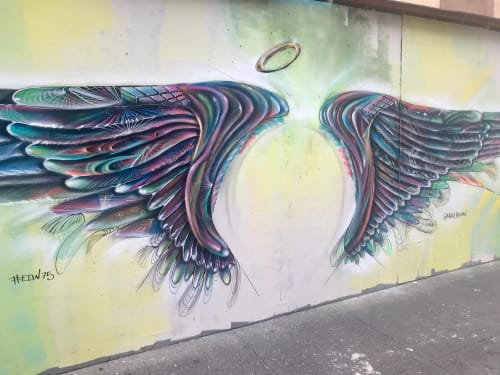 "Street Murals by Max Ehrman (Eon75) seen at Ellis St & Leavenworth St, San Francisco - ""the aviary"" Wings Mural"