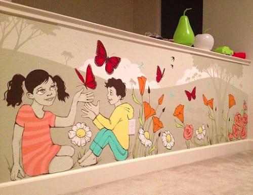 Murals by Ursula Xanthe Young seen at Private Residence, Sacramento - Garden Kids Mural
