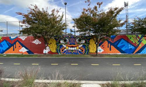 Murals by Golden Rabbit Silent Monkey seen at 227 Harry Thomas Way NE, Washington - Giant Guardian of Tanner Park