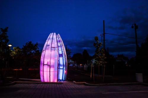 Public Sculptures by Creative Machines seen at Portland Bureau of Emergency Management, Portland - Heart Beacon
