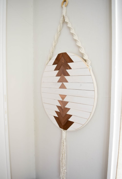 Macrame Wall Hanging by Roaming Roots seen at Private Residence, Spokane - Callisto - Round Macrame Wood Wall Art Hanging