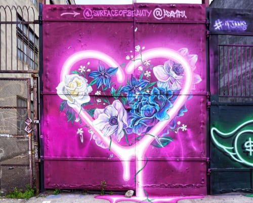 Murals by surface of beauty seen at 8 Wyckoff Ave, Brooklyn - Love Mural