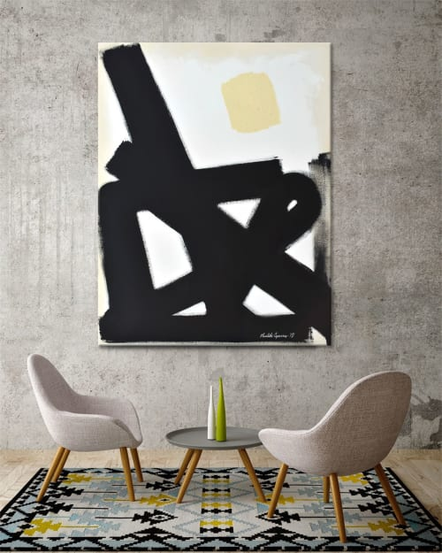 "Paintings by Nicolette Atelier seen at Private Residence - ""Abstract Black Slash No. 1"""