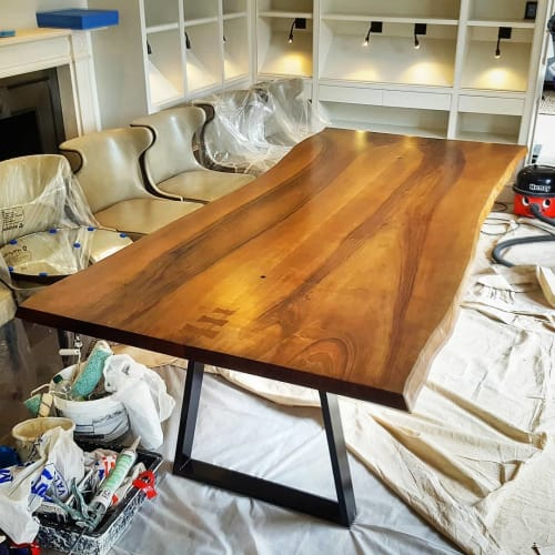 Tables by Handmade in Brighton seen at Private Residence, Inkpen - French Walnut Live Edge Library Table