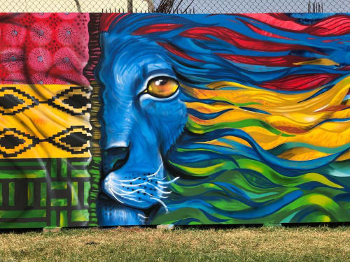 Street Murals by Mohammed Awudu seen at Nima, Accra - Colorful Lion Mural
