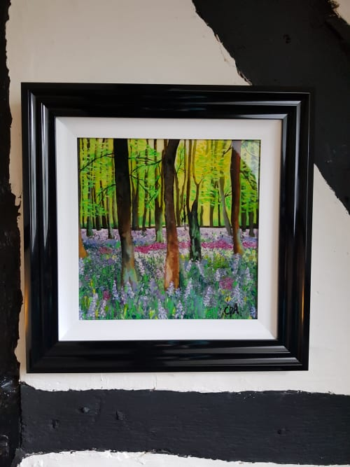 Paintings by Carolina Arbuthnot seen at Private Residence, Solihull - Stormy Sunset and Bluebells