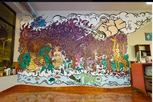 Murals by Cheri Lee Charlton seen at Barbara&Barbara, Chicago - Barbara&barbara Mural