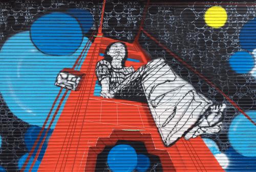 "Murals by Ytaelena seen at 2204 Bryant St, San Francisco - ""Bubbles over Golden Gate Bridge"""