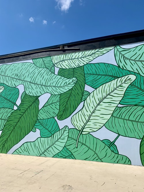 Street Murals by Britt Ford seen at Tamarind Bay Apartments, St. Petersburg - Palm Jungle Mural