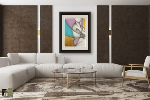 "Paintings by Noel Suarez seen at Private Residence, Miami - SILUETAS VIII - Mixed Media on Arches - 30""x22"" Unframed"
