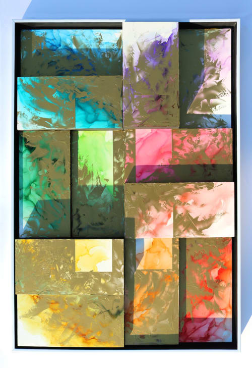 "Paintings by Julie Pelaez Studios seen at Creator's Studio, Austin - ""Please Press Pause #11"" Original Artwork"