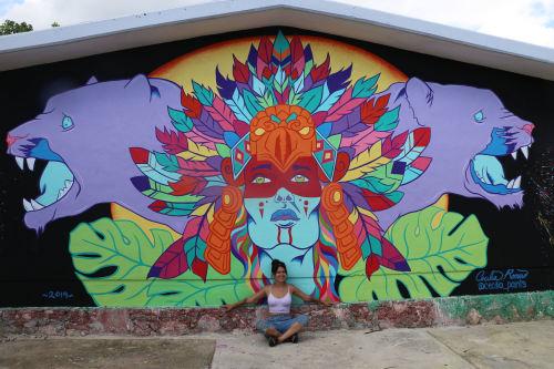 Street Murals by Cecilia Paints seen at Akumal, Akumal - Guardián de la jungla (Jungle Guardian)