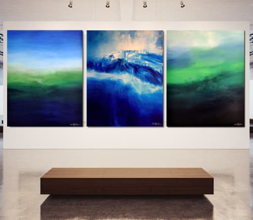 Paintings by CHRISTIAN BAHR seen at Private Residence, Pinecrest - IT IS ALWAYS DARKEST BEFORE THE DAWN (triptych)