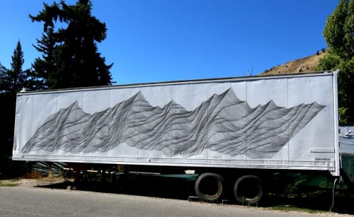 Murals by Havoc Hendricks seen at 215 N Cache St, Jackson - Trailer Mountain