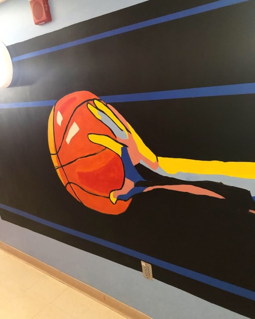 Murals by Big Sam's Paints seen at Boston University, Boston - The Baller