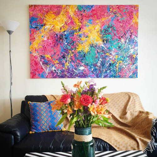 Paintings by Asra Samad seen at Private Residence, Manchester - Cray Crayons