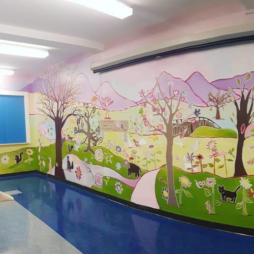 Murals by Blake Wydeman seen at Gilmore Community School, Burnaby - Gilmore Elementary School Mural