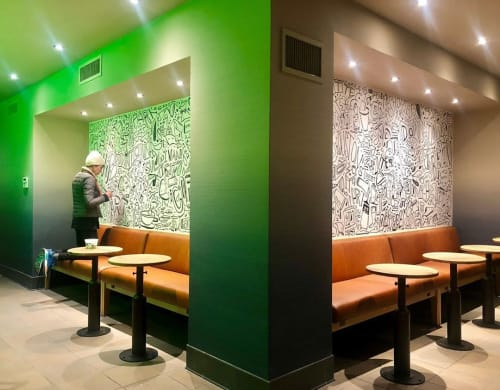 Murals by Katie Merz seen at Starbucks, New York - Interior Mural
