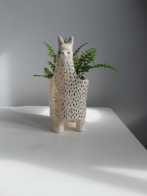 Vases & Vessels by Gail Ceramics seen at Private Residence, Brisbane - Ceramic Llama planter