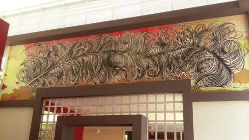 Murals by Paul Santoleri seen at Private Residence, Managua - feather entry