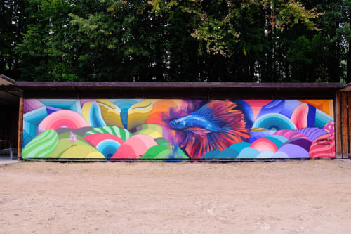 Murals by Nathan Brown seen at Cologne, Cologne - WASSERSKI MURAL