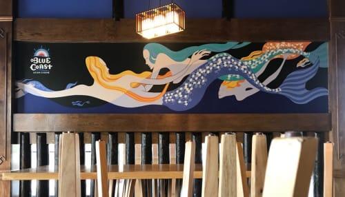 Murals by Daren Lin 大任物 seen at Blue Coast Asian Cuisine, Davenport - Mermaids
