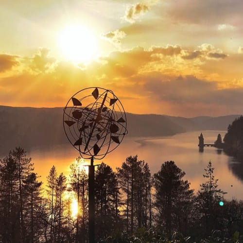 Public Sculptures by Jankowski Weathervanes and Garden Art seen at Lake Vyrnwy Hotel and Spa, Llanwddyn - Wind Sculpture