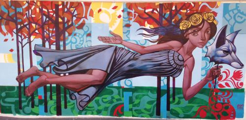 Murals by John Park seen at Running Goose - Hollywood, CA, Los Angeles - Spirit Animal 2013