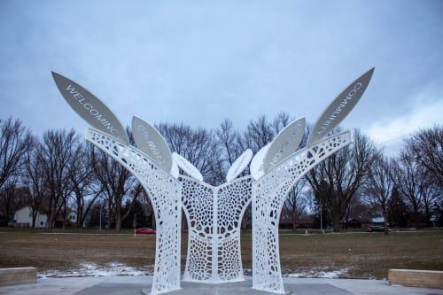 Tree of Life, permanent public art installation, metal, 16ft | Public Sculptures by Hilde DeBruyne Art & Design LLC | Terra Park in Johnston