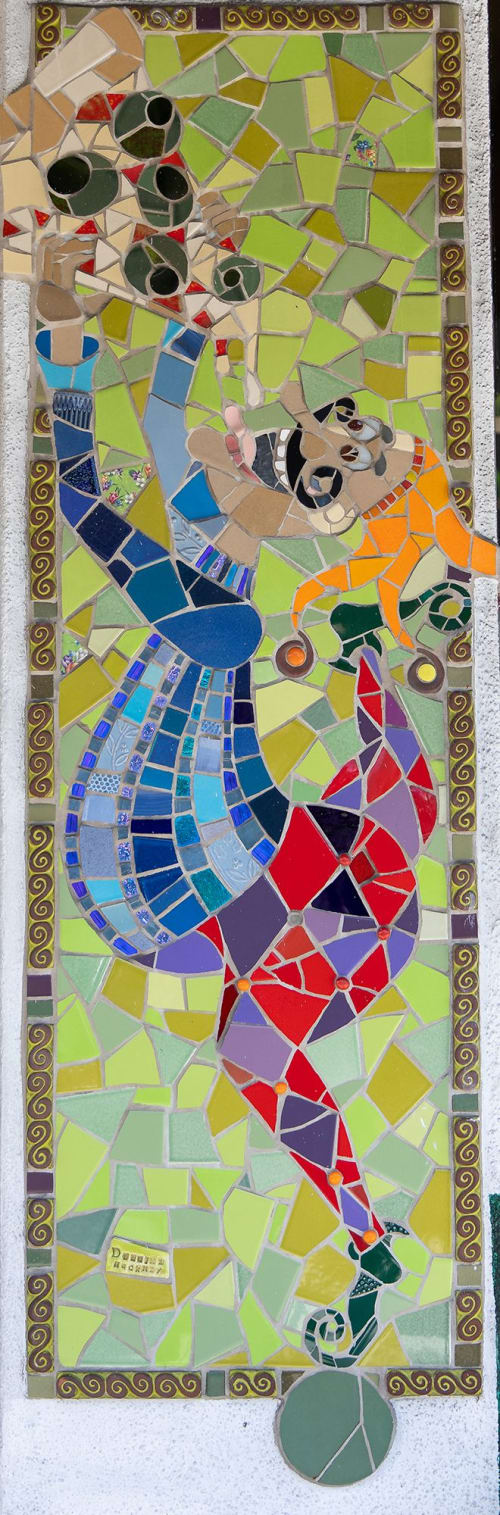Public Mosaics by Delaine Hackney seen at Pasquale's Pizzeria Restaurant, San Francisco - Olive Pizza
