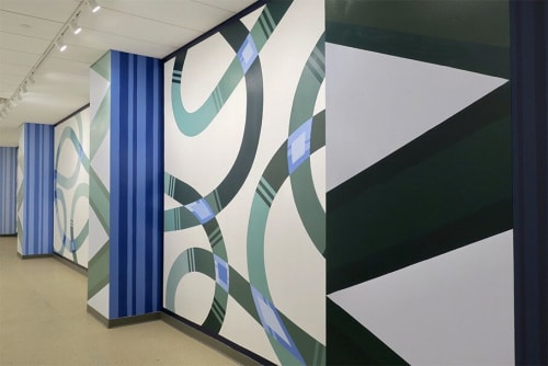 """Murals by Mary Stengel Bentley seen at Yale Science Building, New Haven - """"Sequence"""" Mural"""