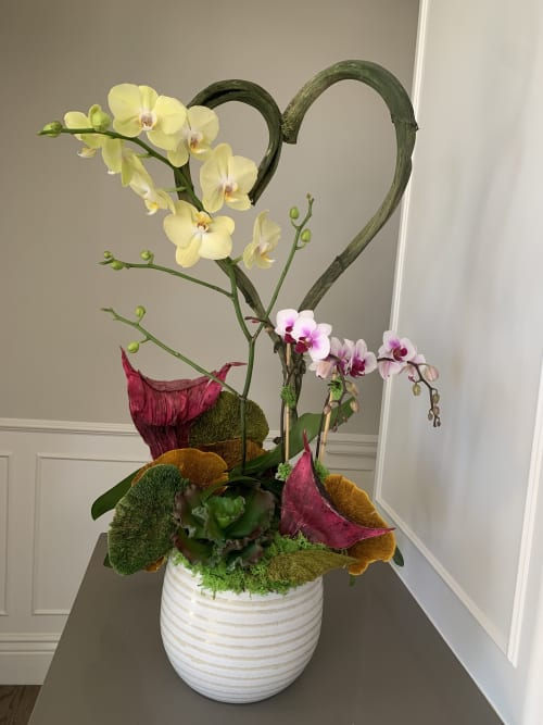 Floral Arrangements by Fleurina Designs seen at Private Residence, Los Gatos - Spring Orchid arrangement