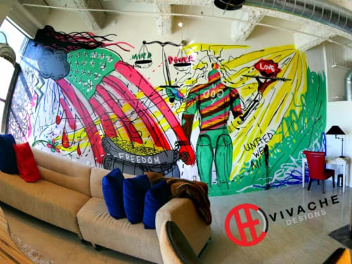 Murals by VIVACHE DESIGNS seen at SB Tower, Los Angeles - Custom Murals