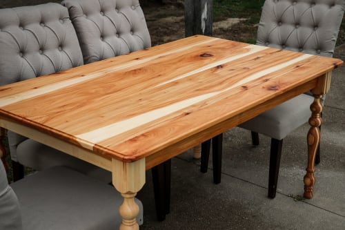 Hickory Farmhouse Dining Table   Tables by Hazel Oak Farms   Amana Colonies in Amana