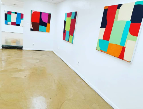 Paintings by Laura Nugent seen at Bunker Center for the Arts, Kansas City - gallery installation