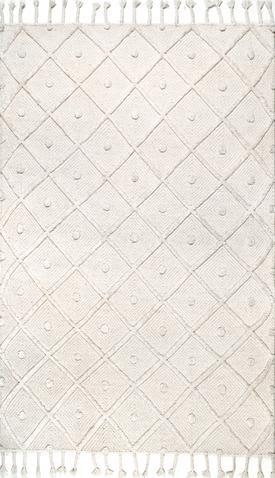 Rugs by RugsUSA seen at Dani's Home - Randolph Mansion, Washington - Ivory Diamond Textured Trellis Tassel Area Rug